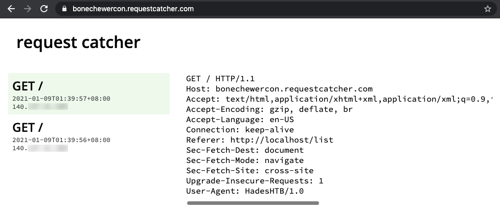 Request Catcher page showing hits from the server