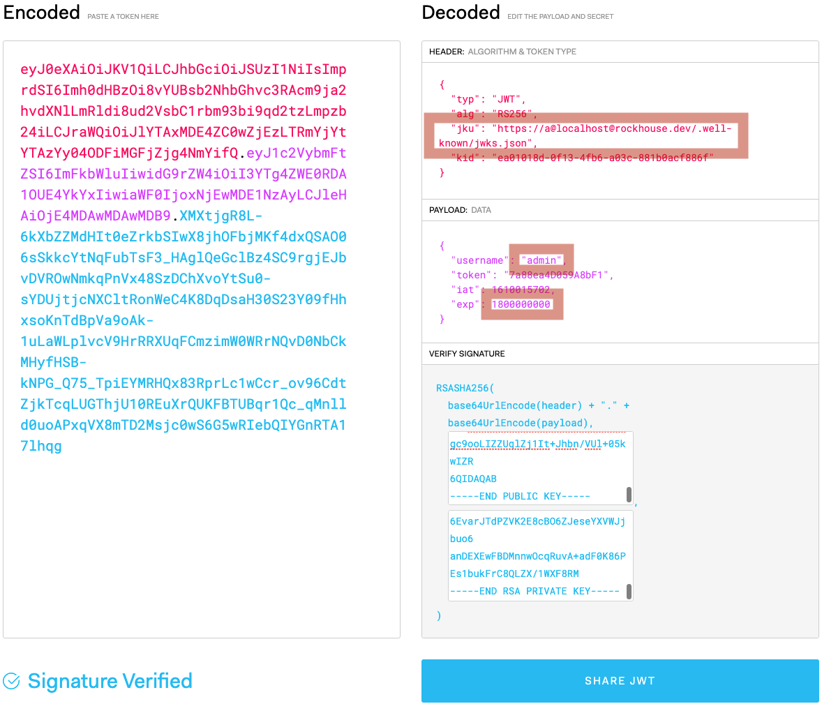 Generating JWT with edited values in JWT.IO