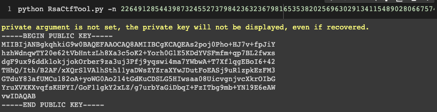 Command line output of generating public key certificate with RsaCtfTool