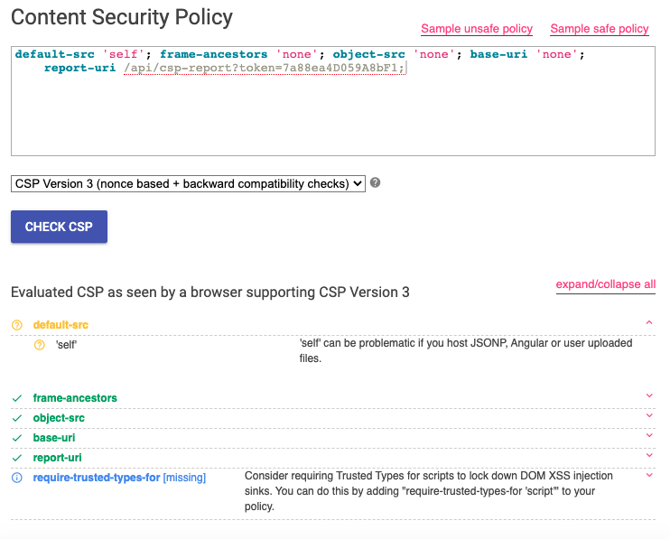 CSP Evaluator shows that the CSP is very secure