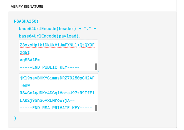 Filling in the public and private key in JWT.IO