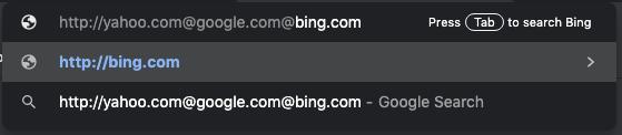 """Typing """"http://yahoo.com%40google.com@bing.com/"""" in Google Chrome"""